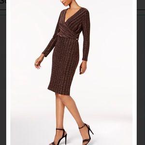 NWT Gold Wrap Dress